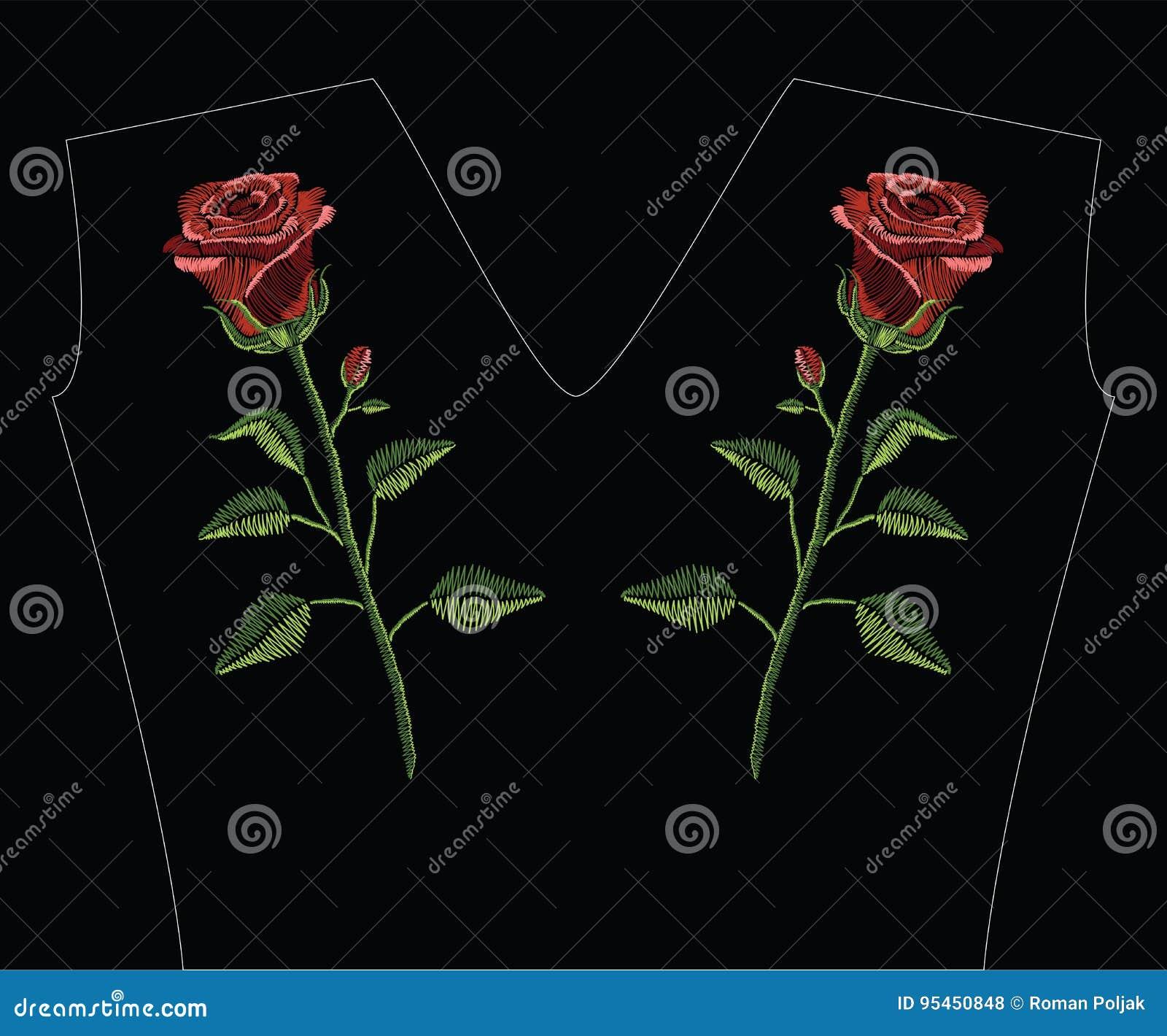 Вышивка шьет с красной розой и зеленый цвет выходит в пастельный col