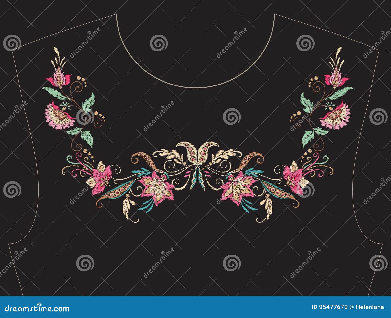 Вышивка для neckline, воротника для футболки, блузки, рубашки