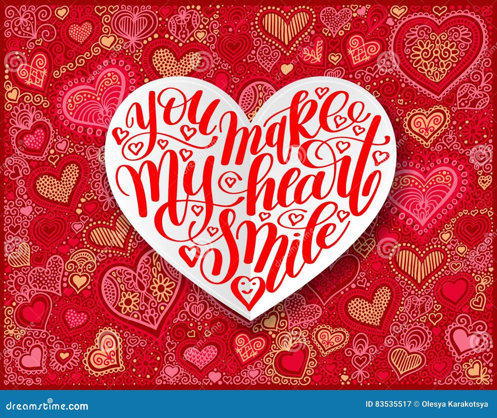 Вы делаете мое сердце усмехнуться дизайн каллиграфии на красной бумажной руке dra