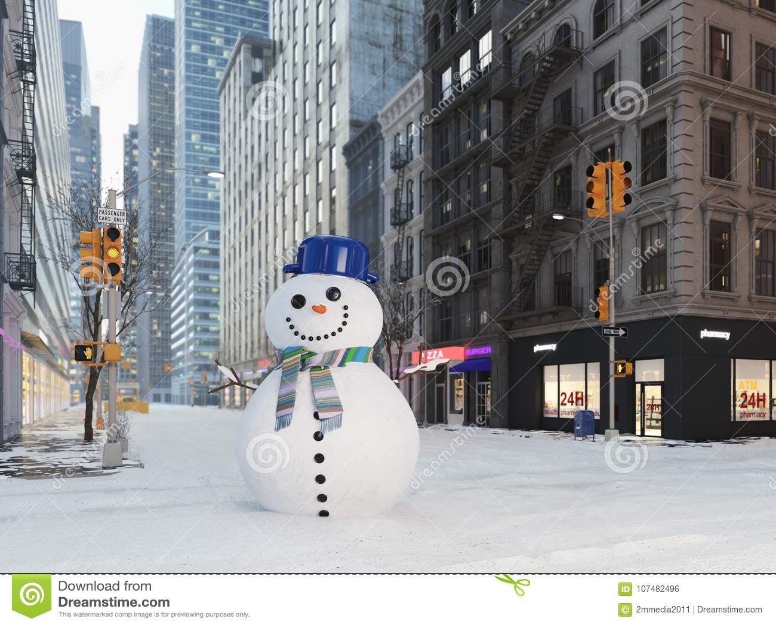 Вьюга в Нью-Йорке снеговик строения перевод 3d