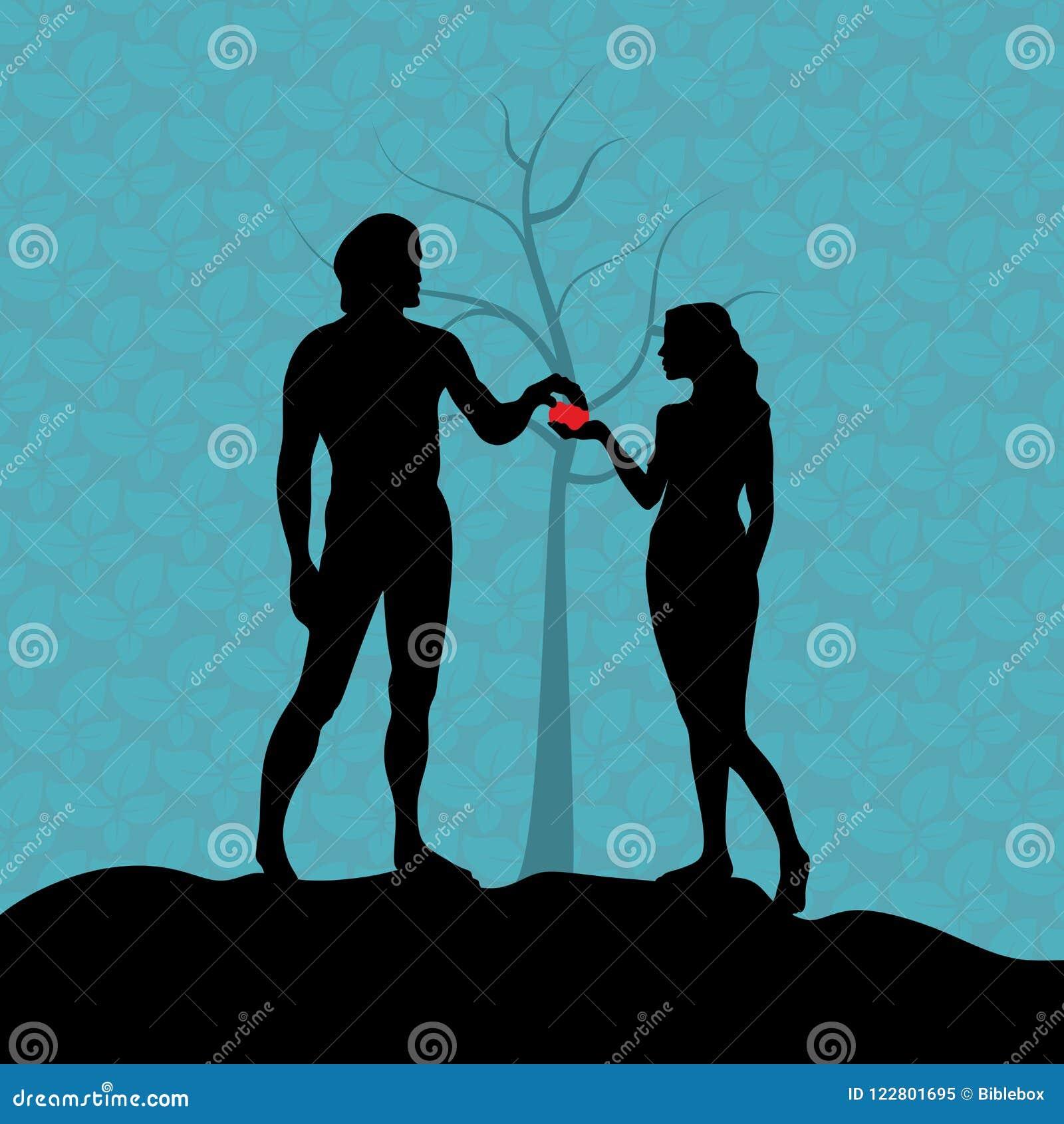 В саде Eden, Eve дает Адаму запретный плод Падение