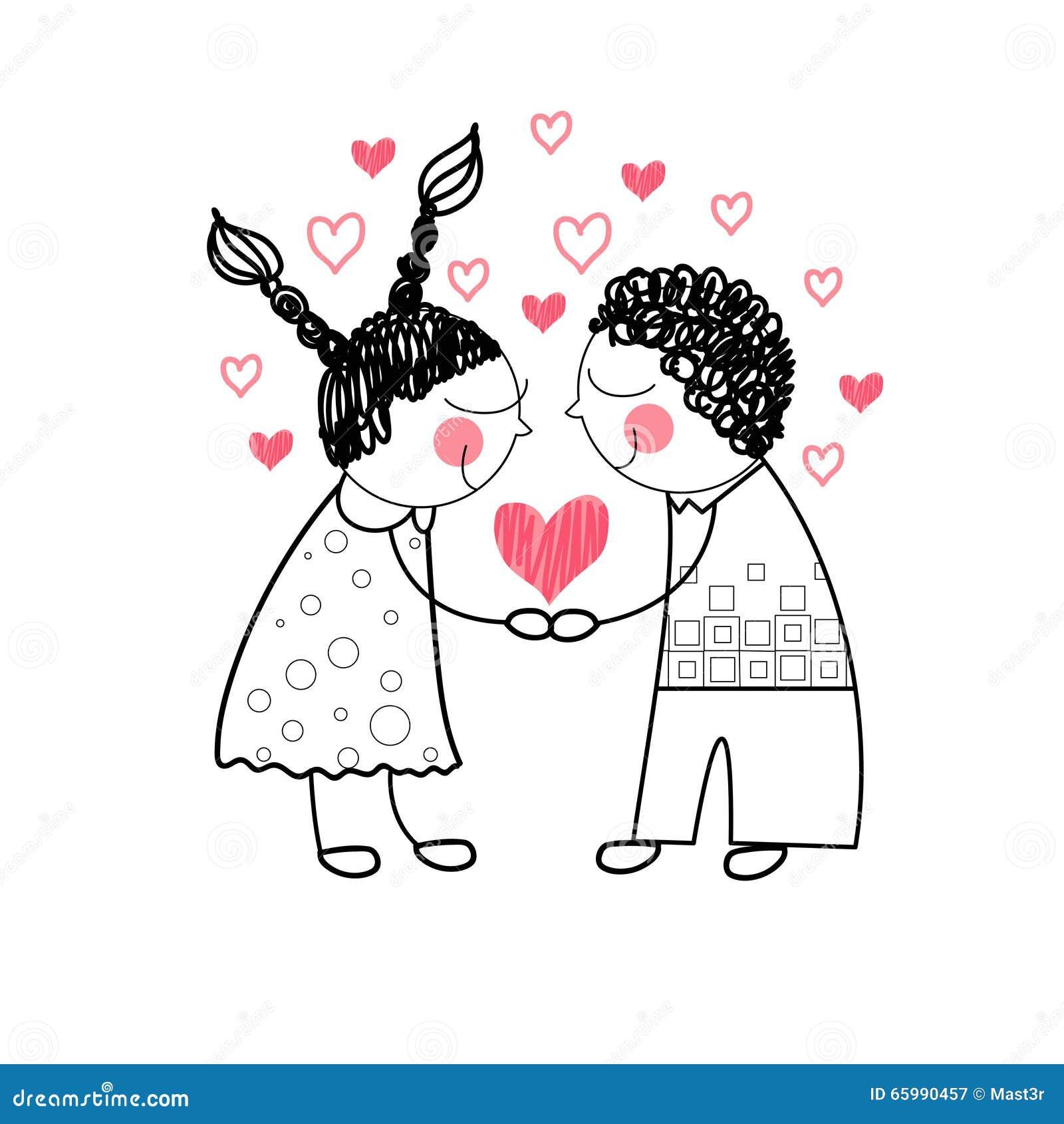 Влюбленность формы сердца пар красная держа руки рисуя простую линию