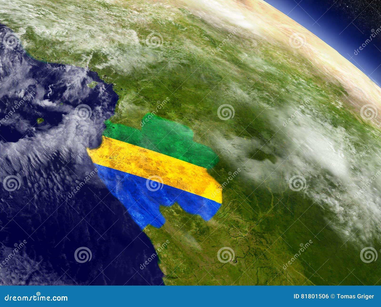 Габон с врезанным флагом на земле
