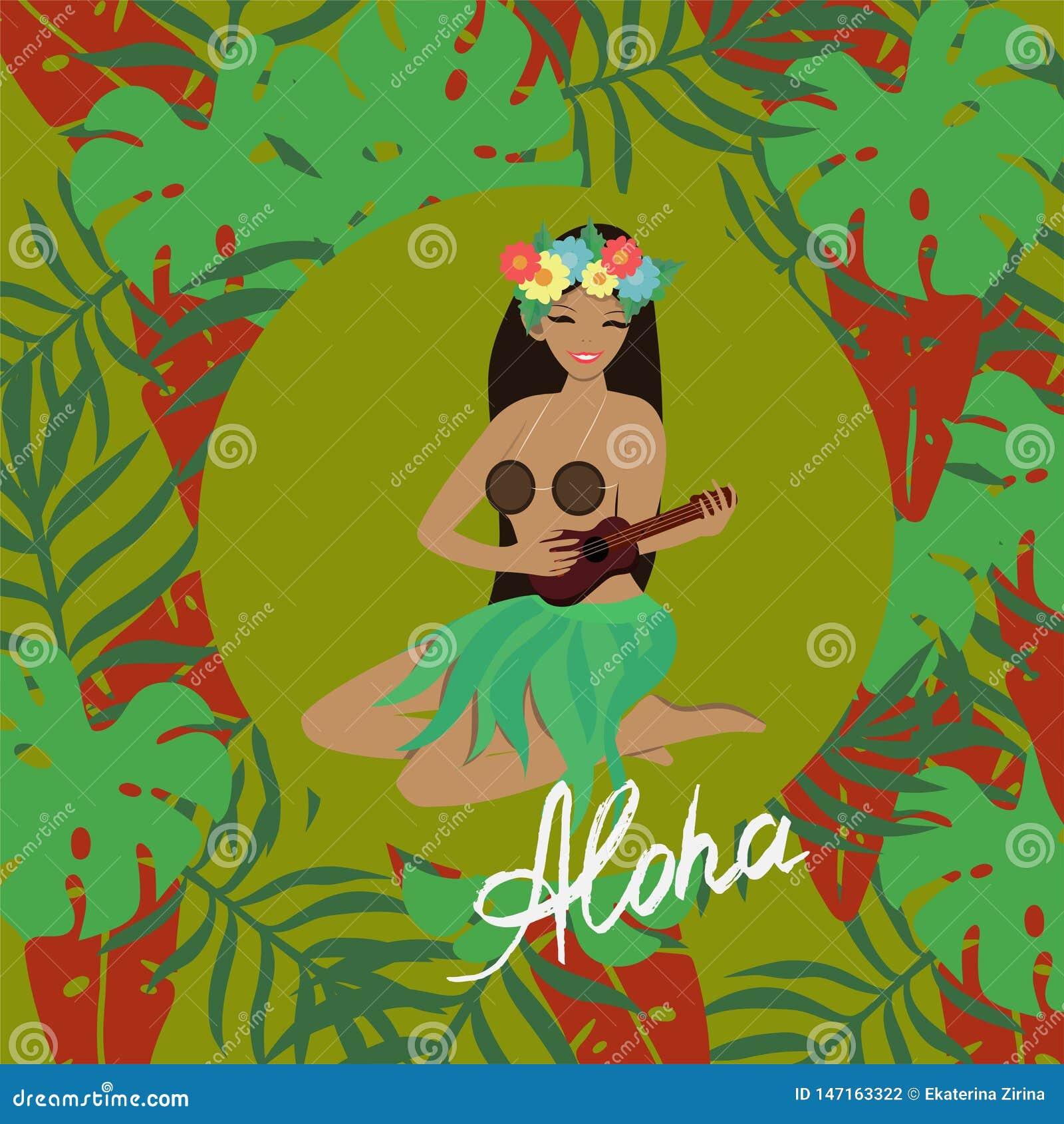 Гавайская девушка играет гитару гавайской гитары и поет Против фона тропических листьев r
