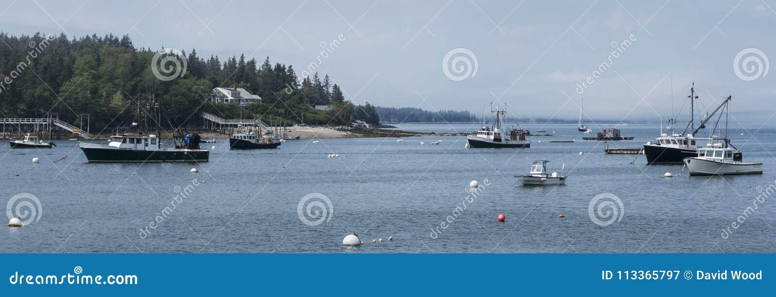 Гавань в Мейне при причаленные рыболовные лодки промышленного рыболовства