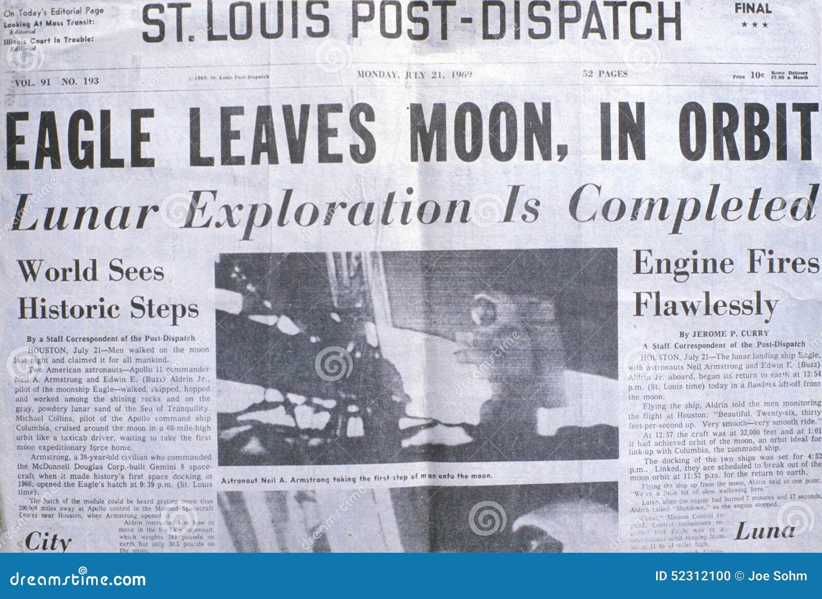 Газета Пост-отправки Сент-Луис показывает полет луны Аполлона 11, 21-ое июля 1969