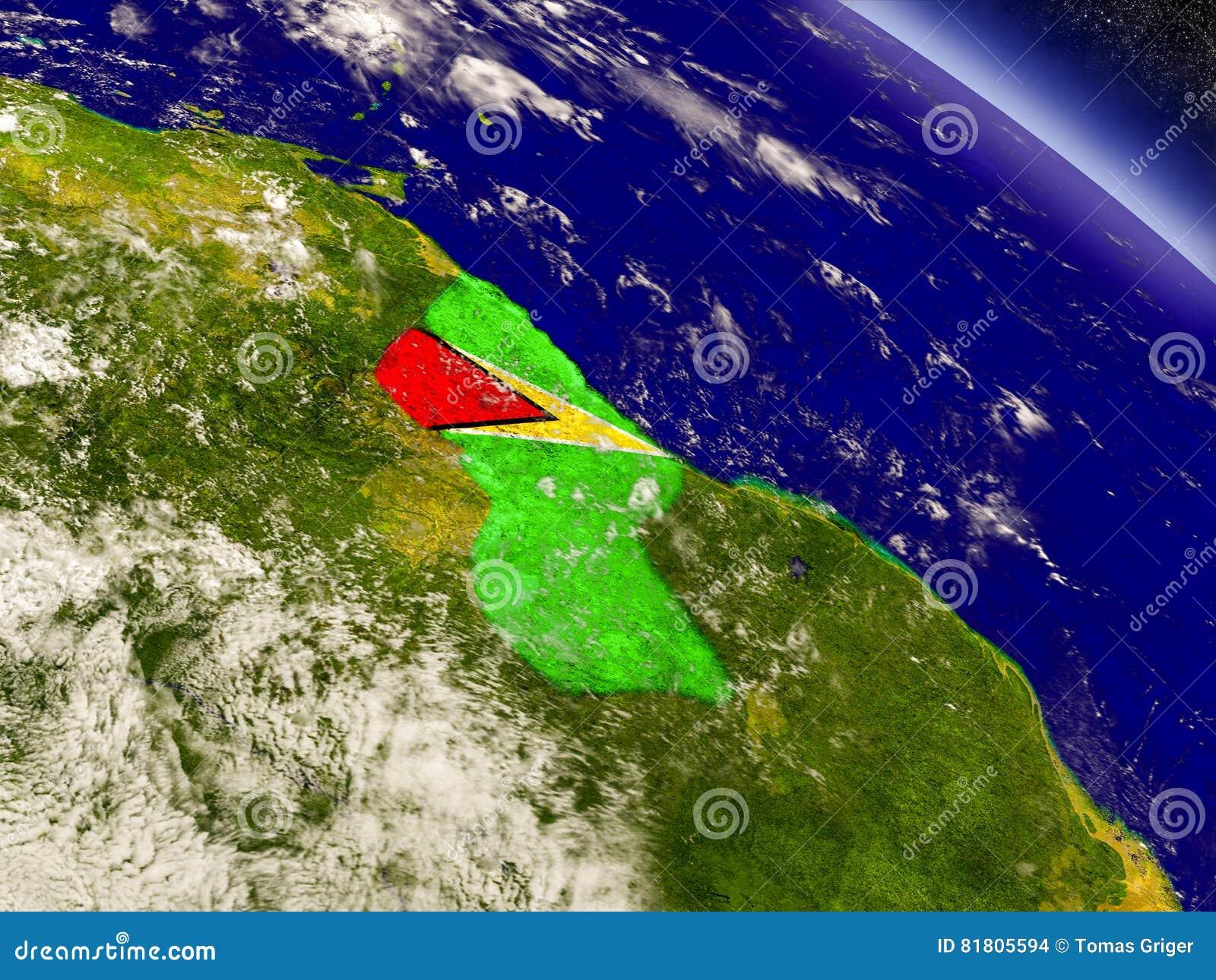 Гайана с врезанным флагом на земле