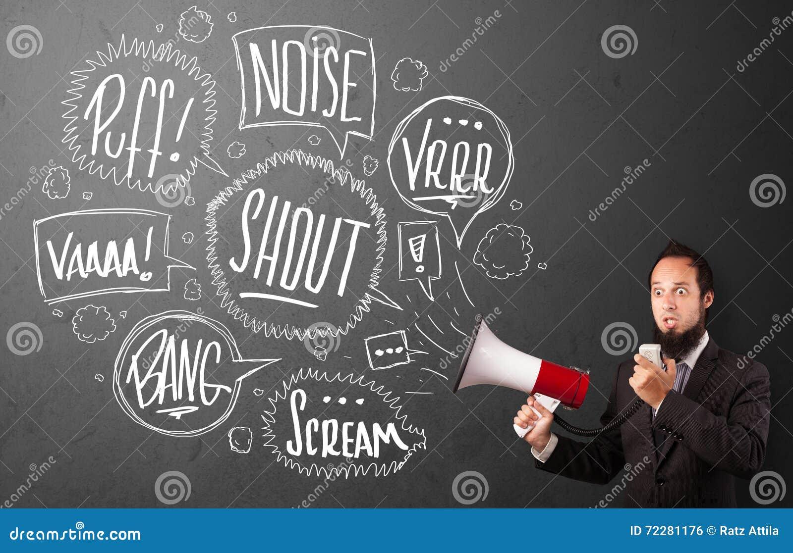 Download Гай в костюме выкрикивая в мегафон и нарисованные рукой пузыри речи Стоковое Фото - изображение насчитывающей сообщение, bryce: 72281176