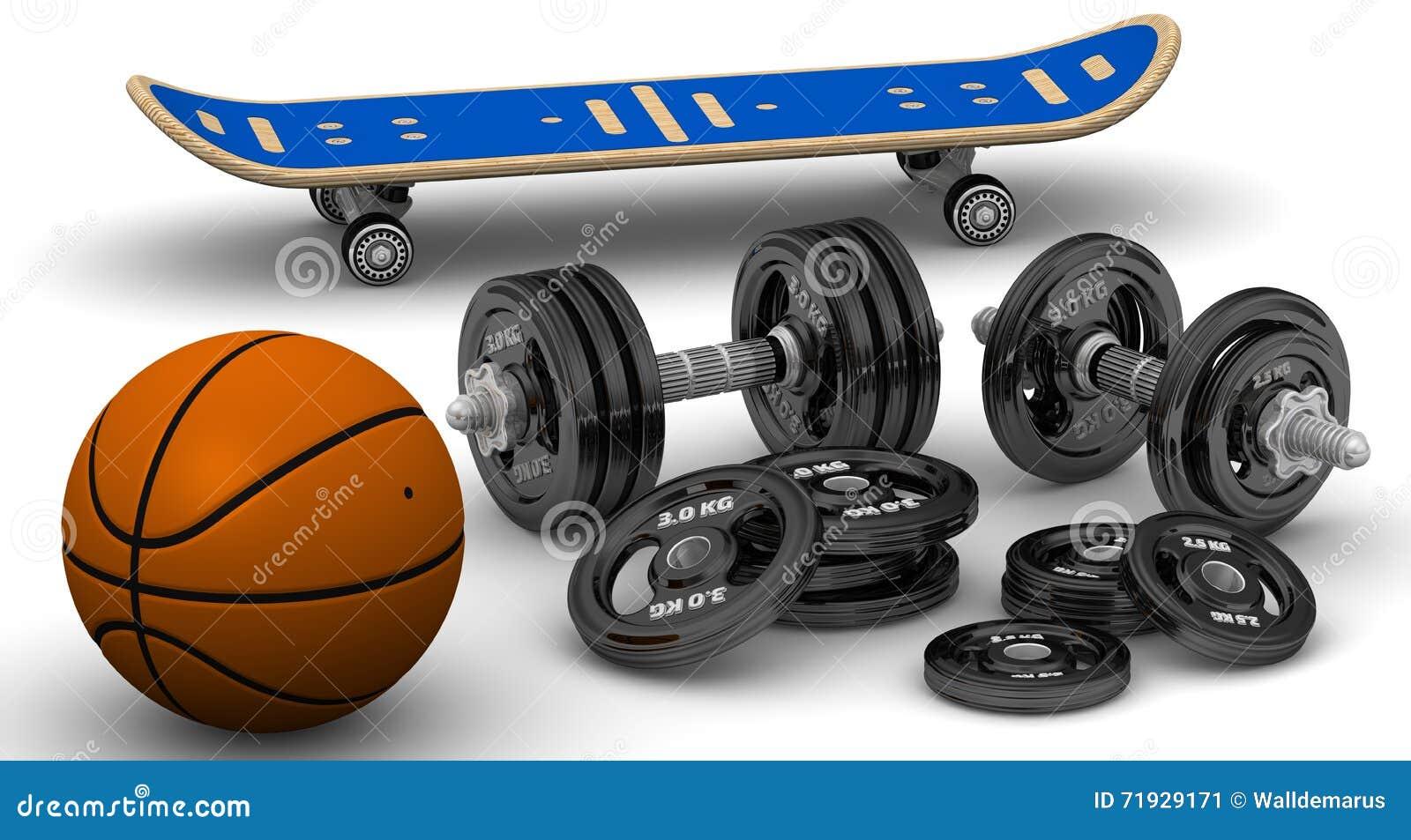 Гантели, баскетбол и скейтборд