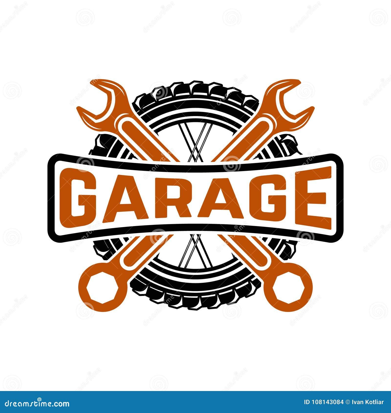 гараж Обслуживайте станцию Ремонт автомобиля Элемент дизайна для логотипа, Ла