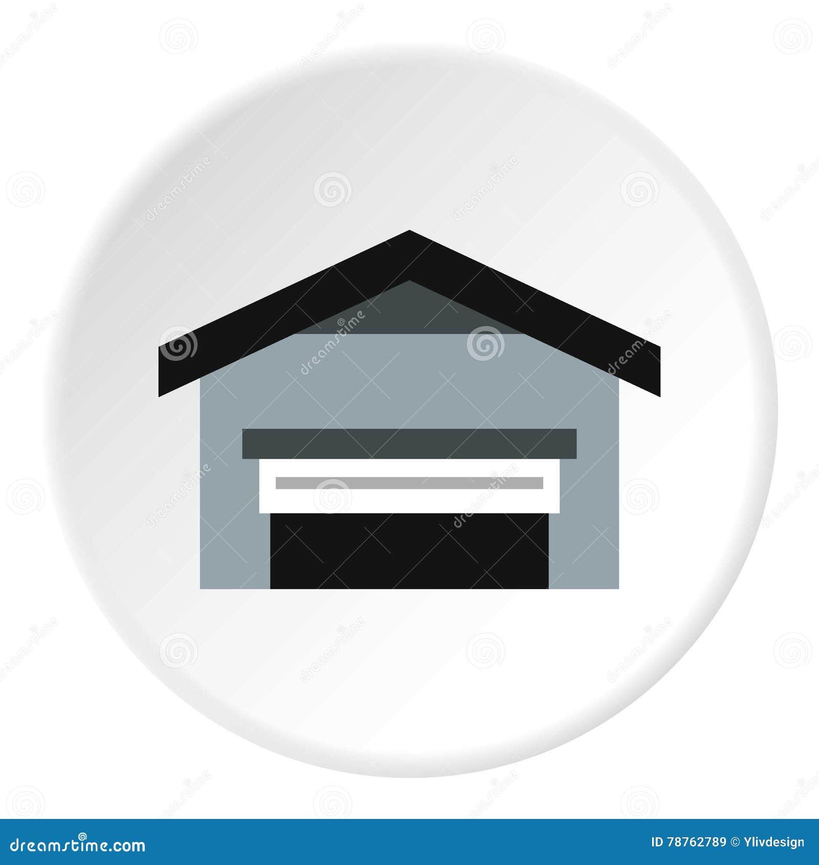 Гараж с значком крыши, плоским стилем