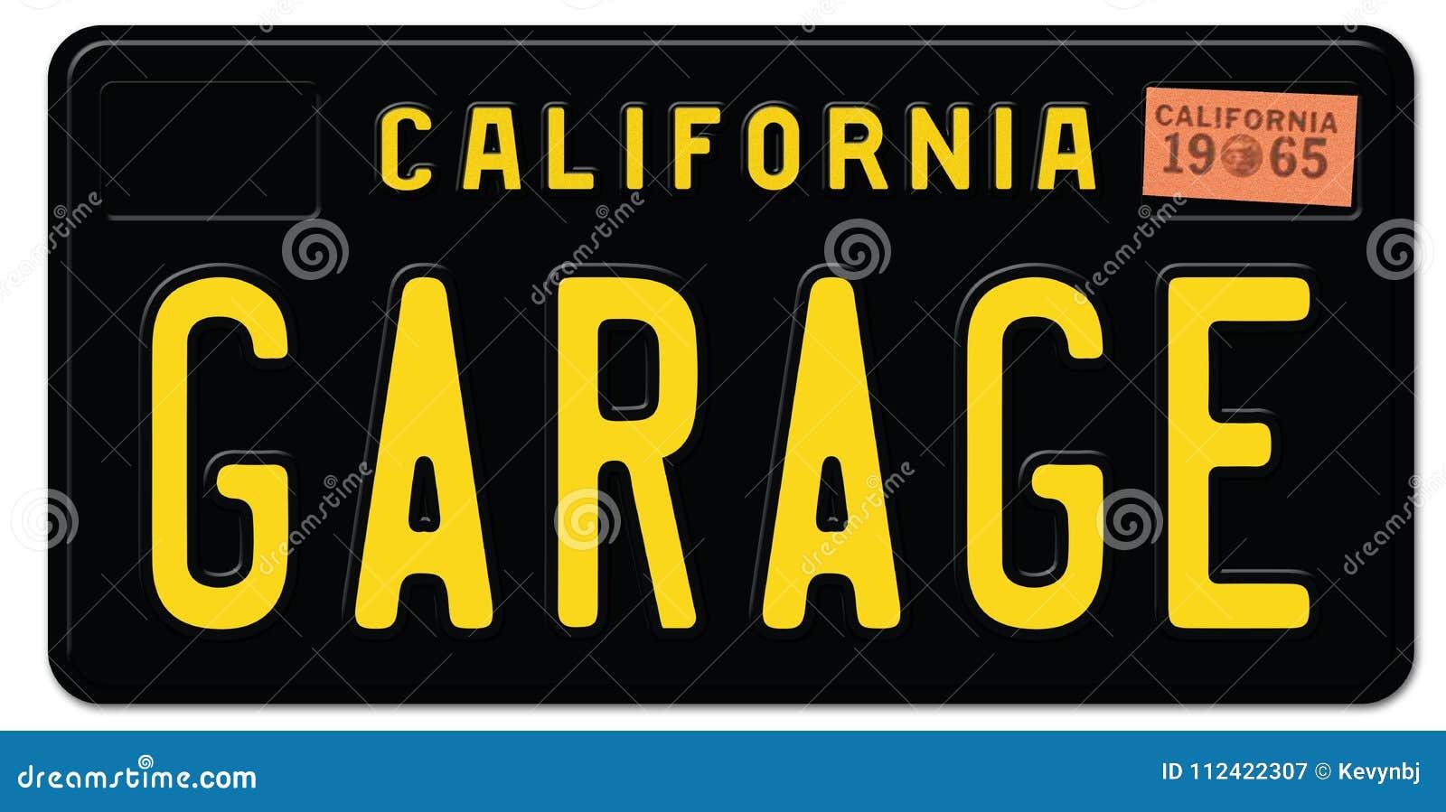 Гараж черноты номерного знака Калифорнии ретро