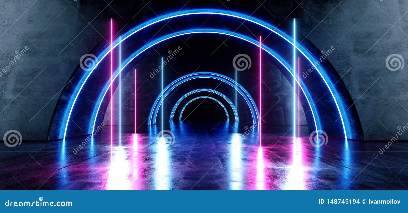 Гараж Hall неоновой прихожей Grunge коридора тоннеля круга пинка пурпура лазера голубой овальной конкретной отражательной темной