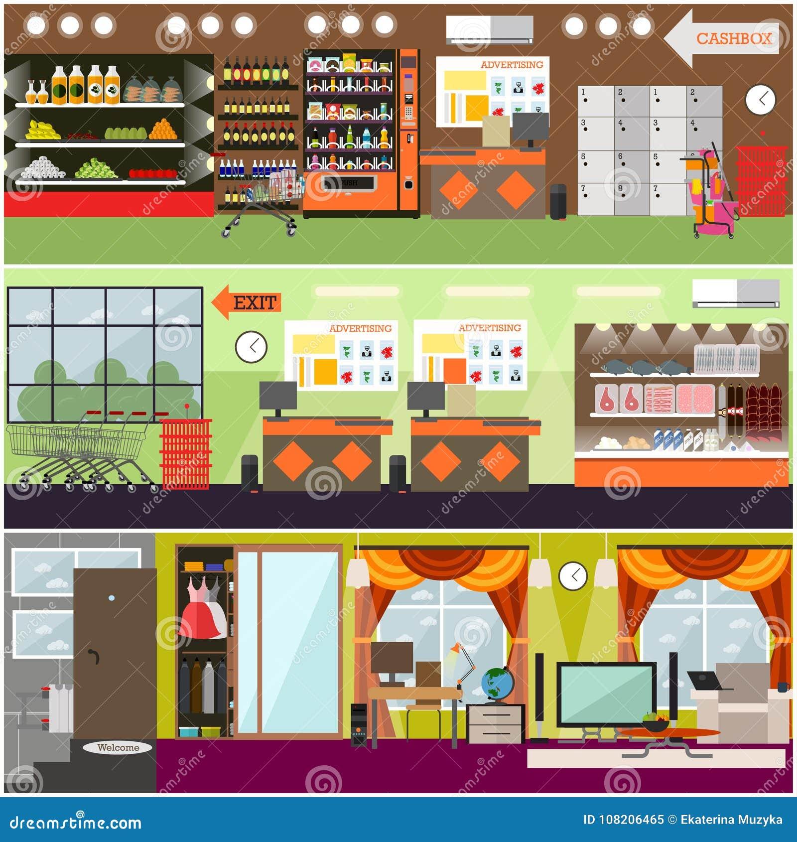 Гастроном, супермаркет, комплект плаката внутреннего вектора дома плоский