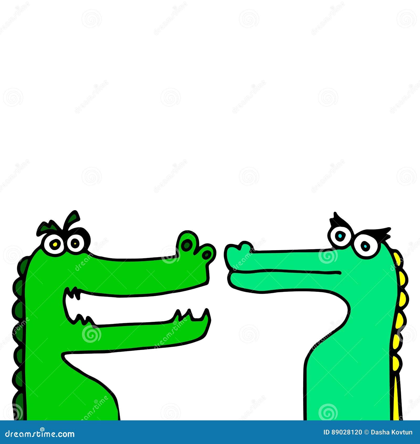 Гад хищника шаржа зеленого цвета аллигатора иллюстрации вектора крокодила животный