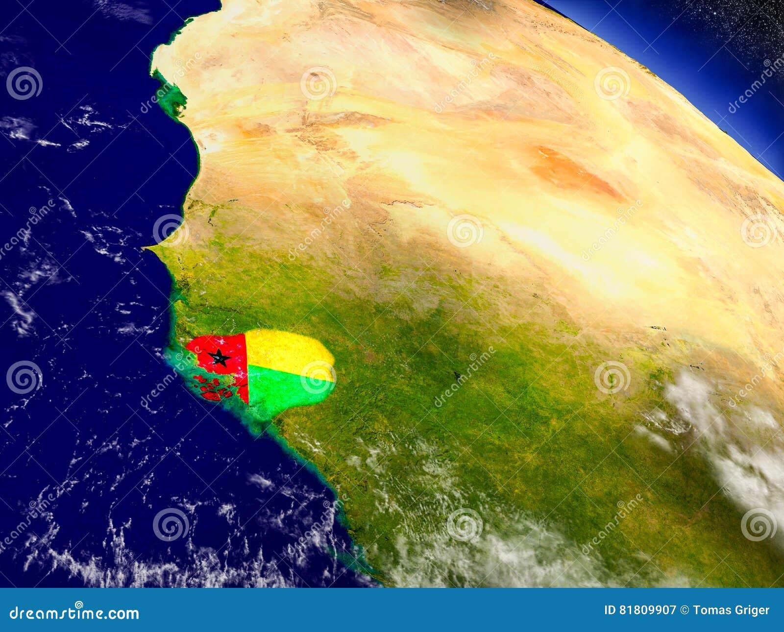 Гвинея-Бисау с врезанным флагом на земле
