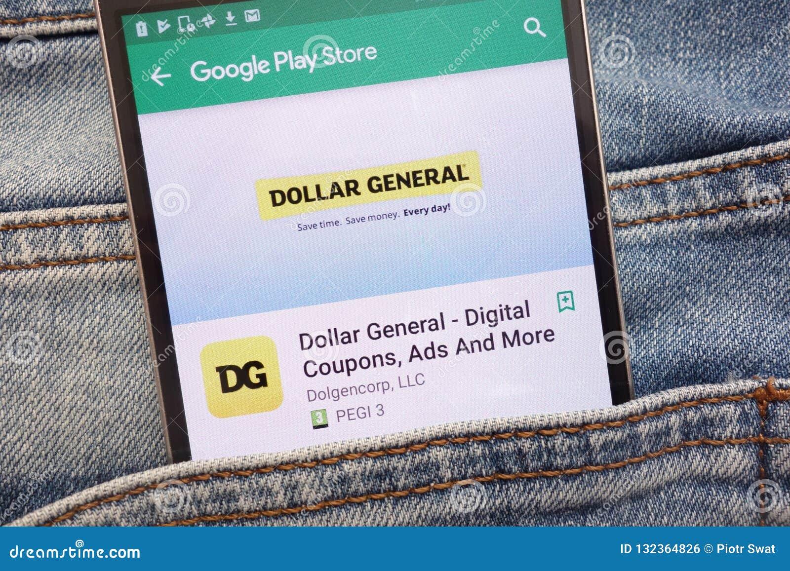 Генерал доллара - талоны цифров, объявления и больше приложения на вебсайте магазина игры Google показанном на смартфоне спрятанн