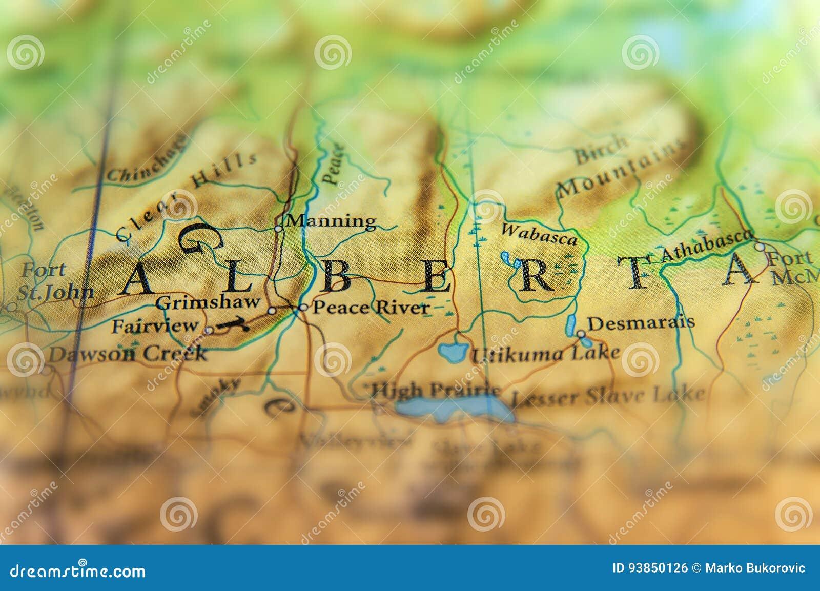 Географическая карта положения Альберты Канады с важными городами