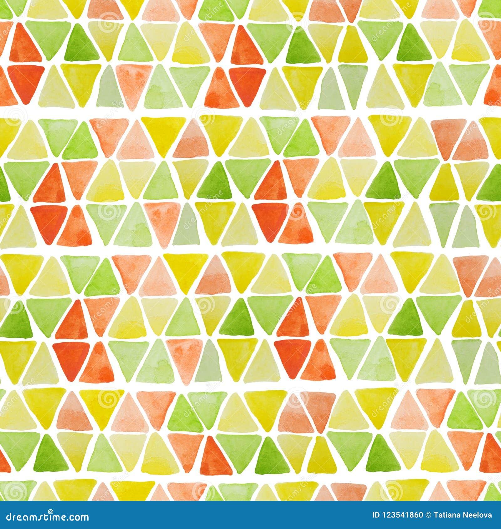 Геометрическая безшовная картина с нарисованными рукой квадратами и треугольниками акварели Современная красочная предпосылка кон