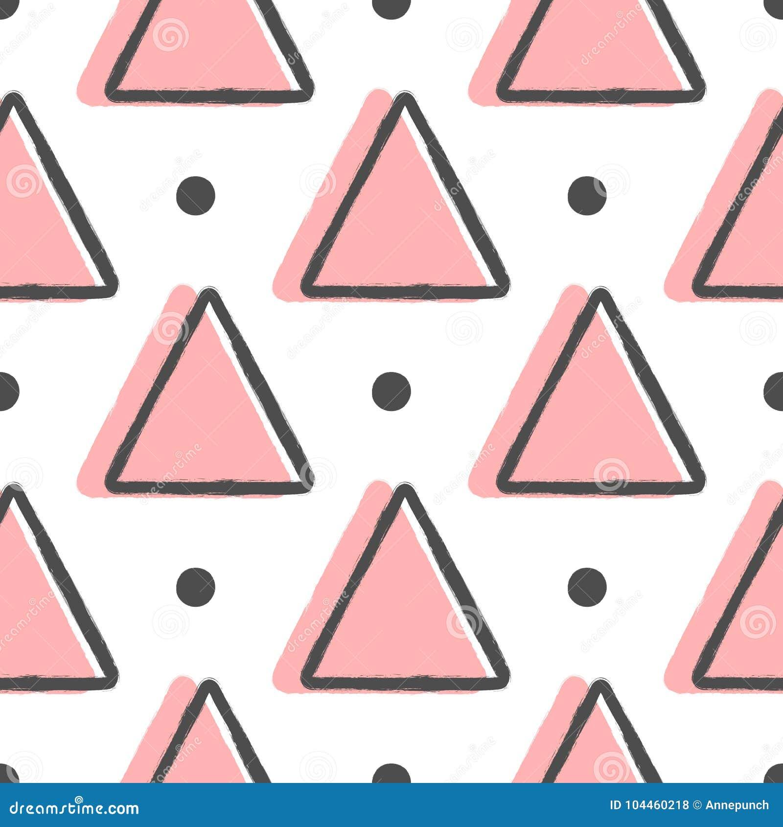 Геометрическая безшовная картина с треугольниками и круглыми точками Нарисовано вручную