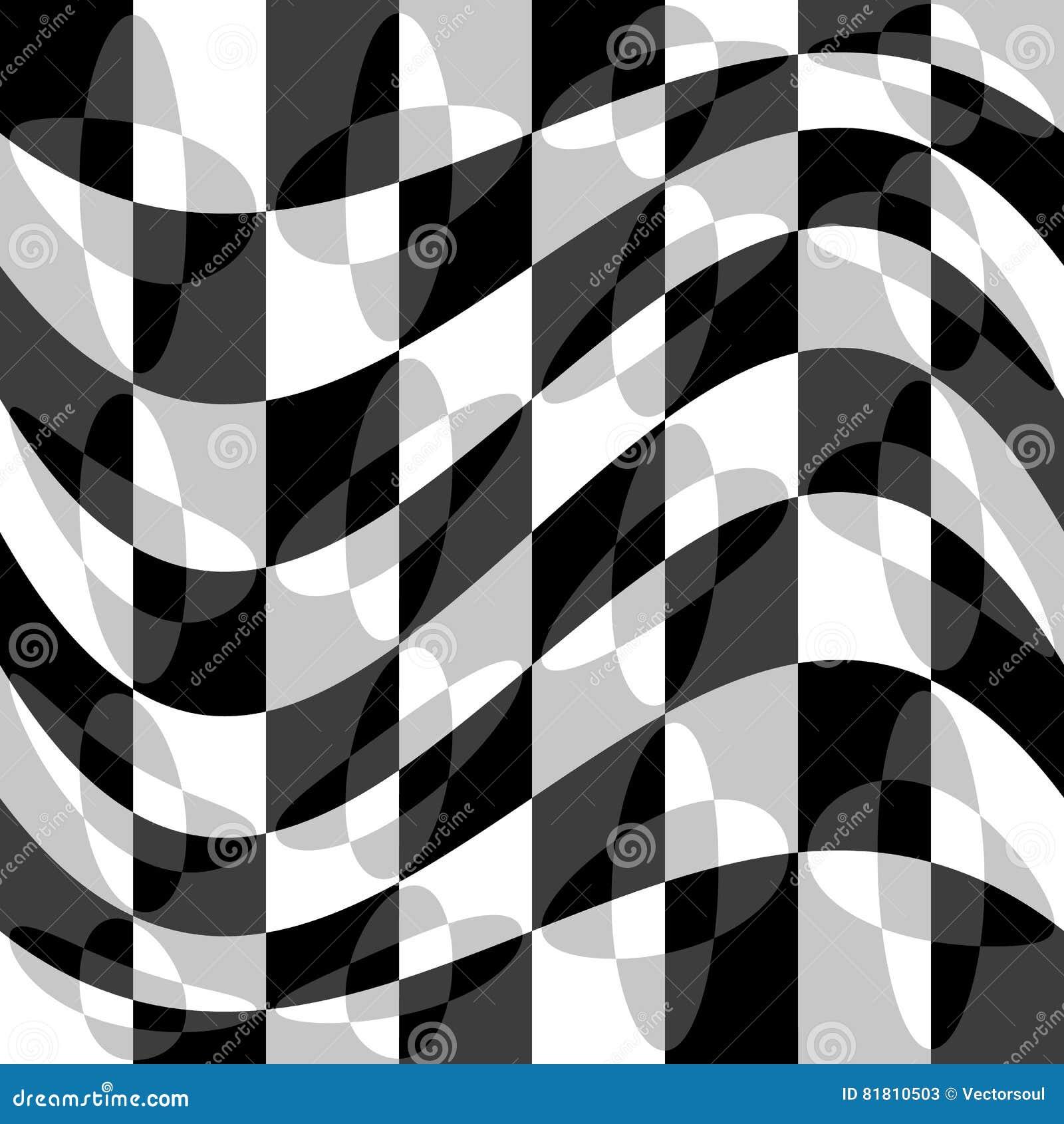 Геометрическая картина с пульсацией, волнистым искажением, влиянием искривления гнойничка