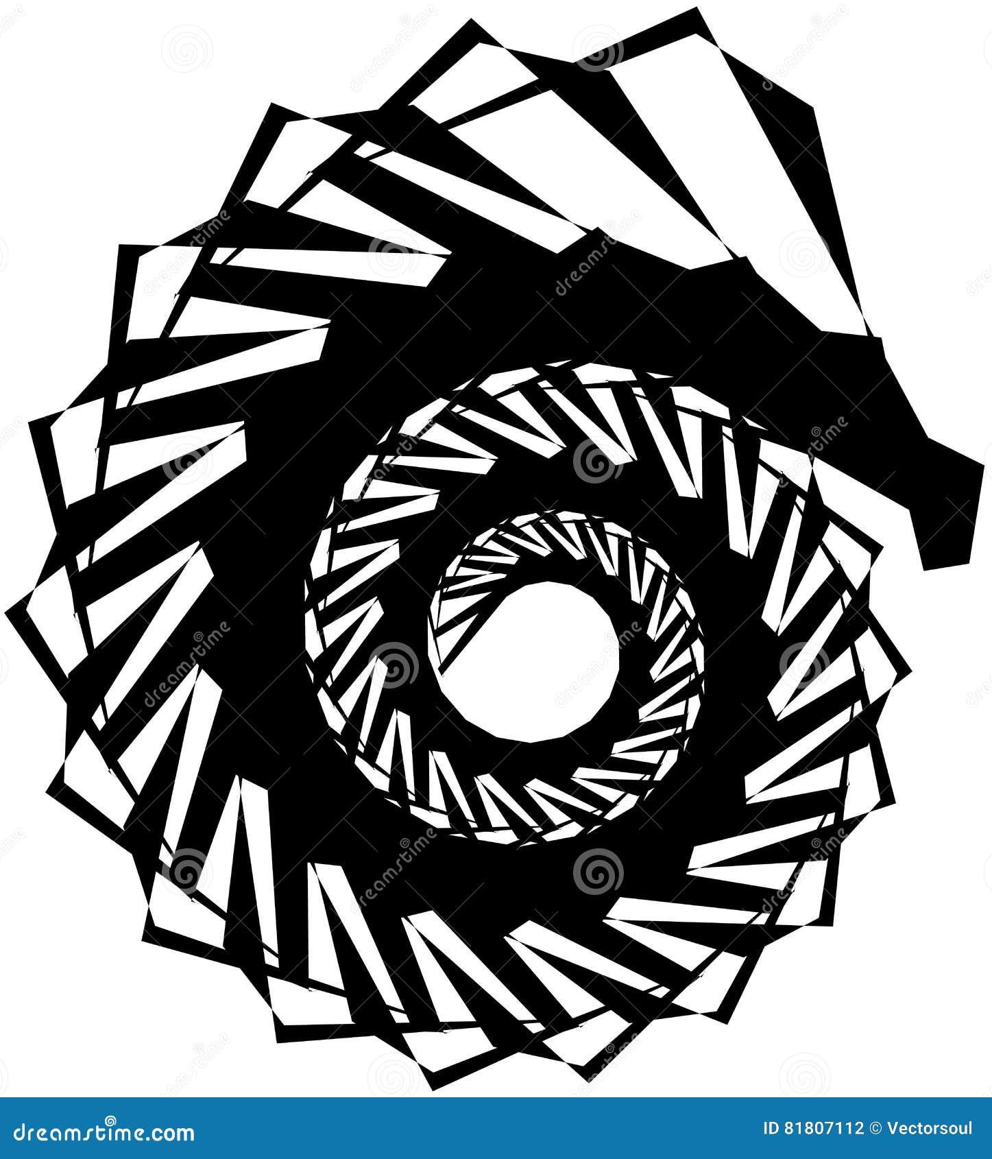 Геометрическая круговая спираль Абстрактная угловая, нервная форма в rotat