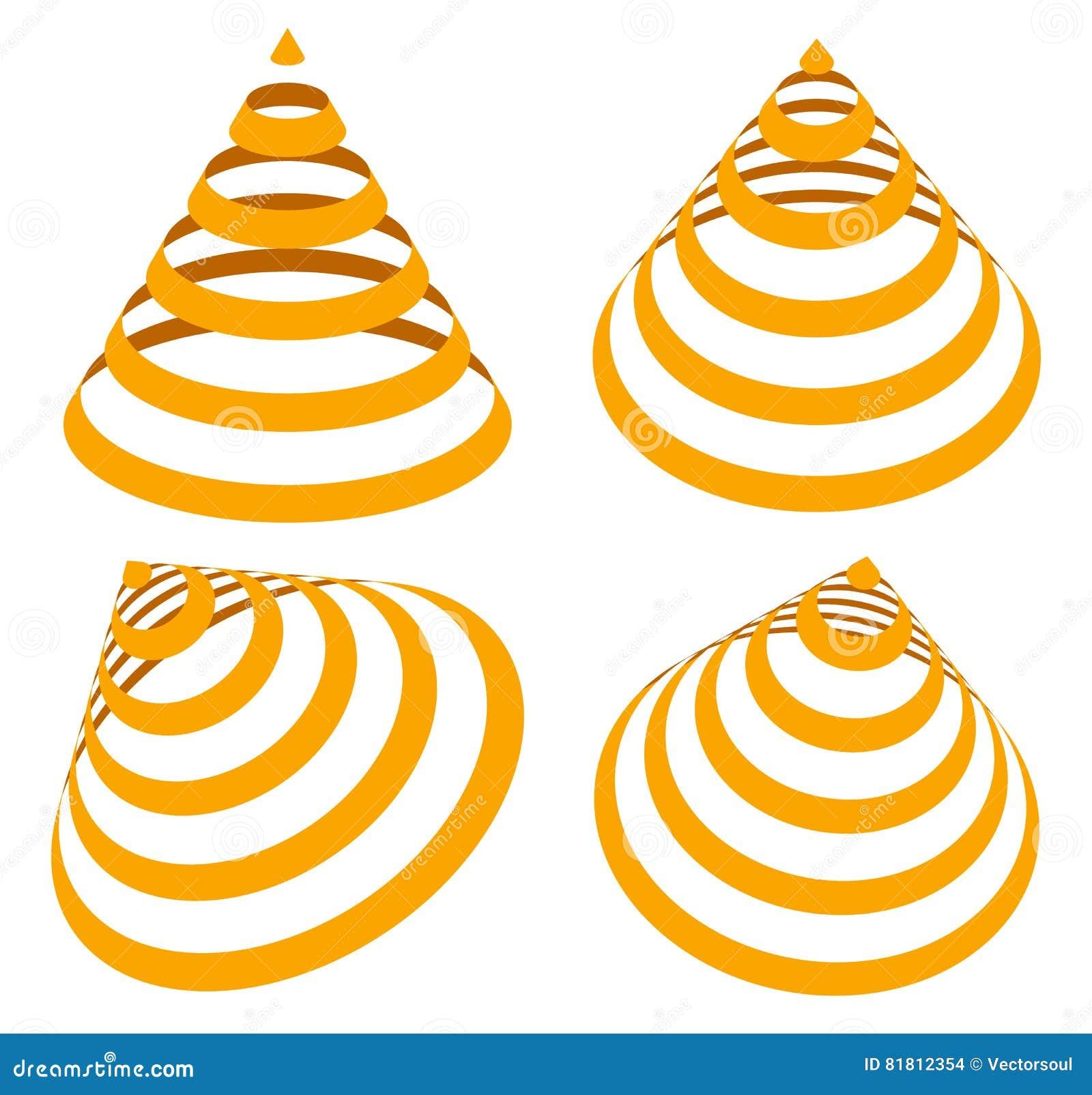 Геометрические треугольники с нашивками, линиями в угле 4 Конус с st