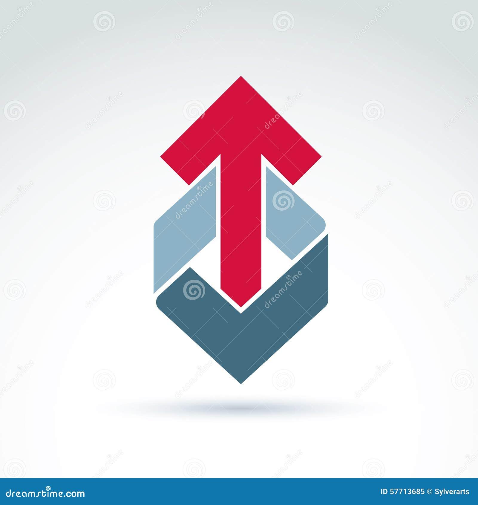 Геометрический абстрактный символ с стрелкой, elem дизайна векторной графики