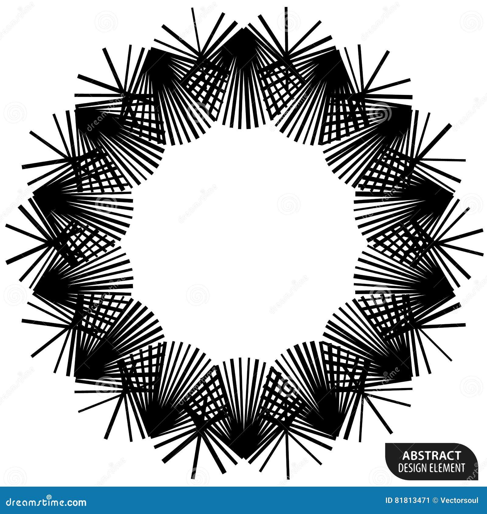 Геометрический элемент сделанный линий Абстрактное monochrome isola формы