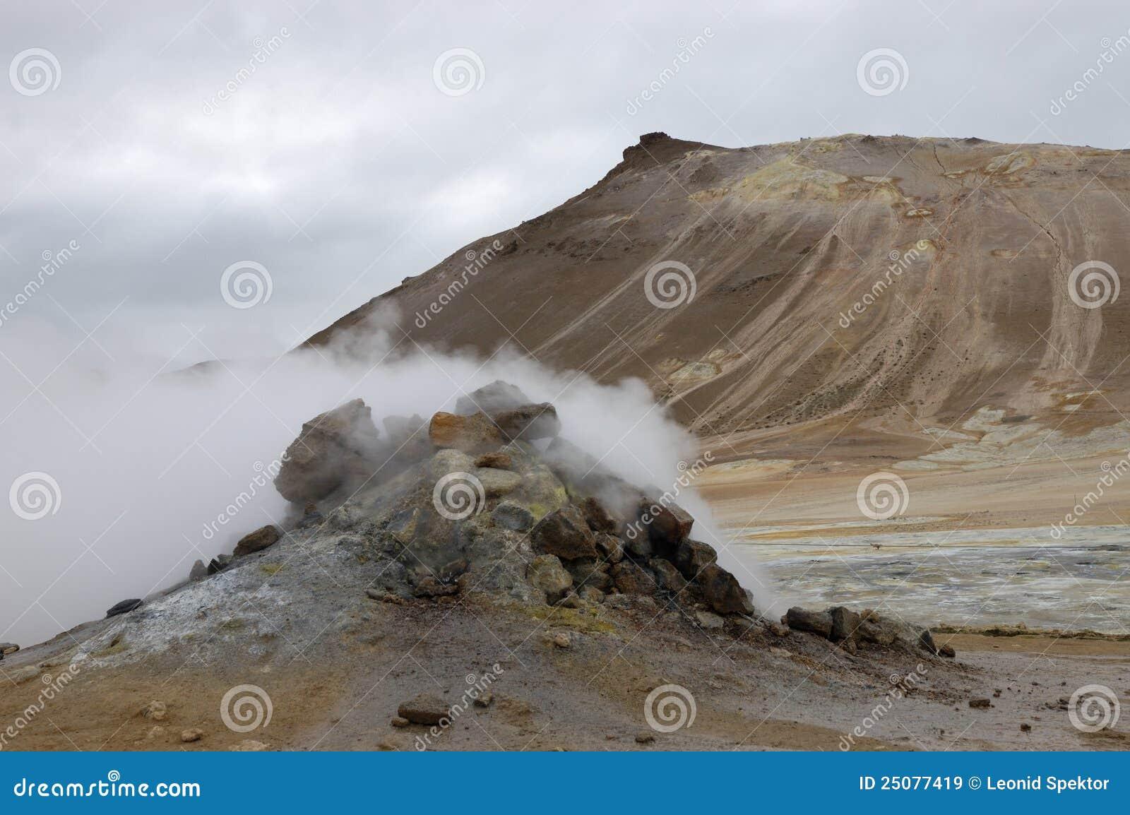 геотермическое место Исландии hverir
