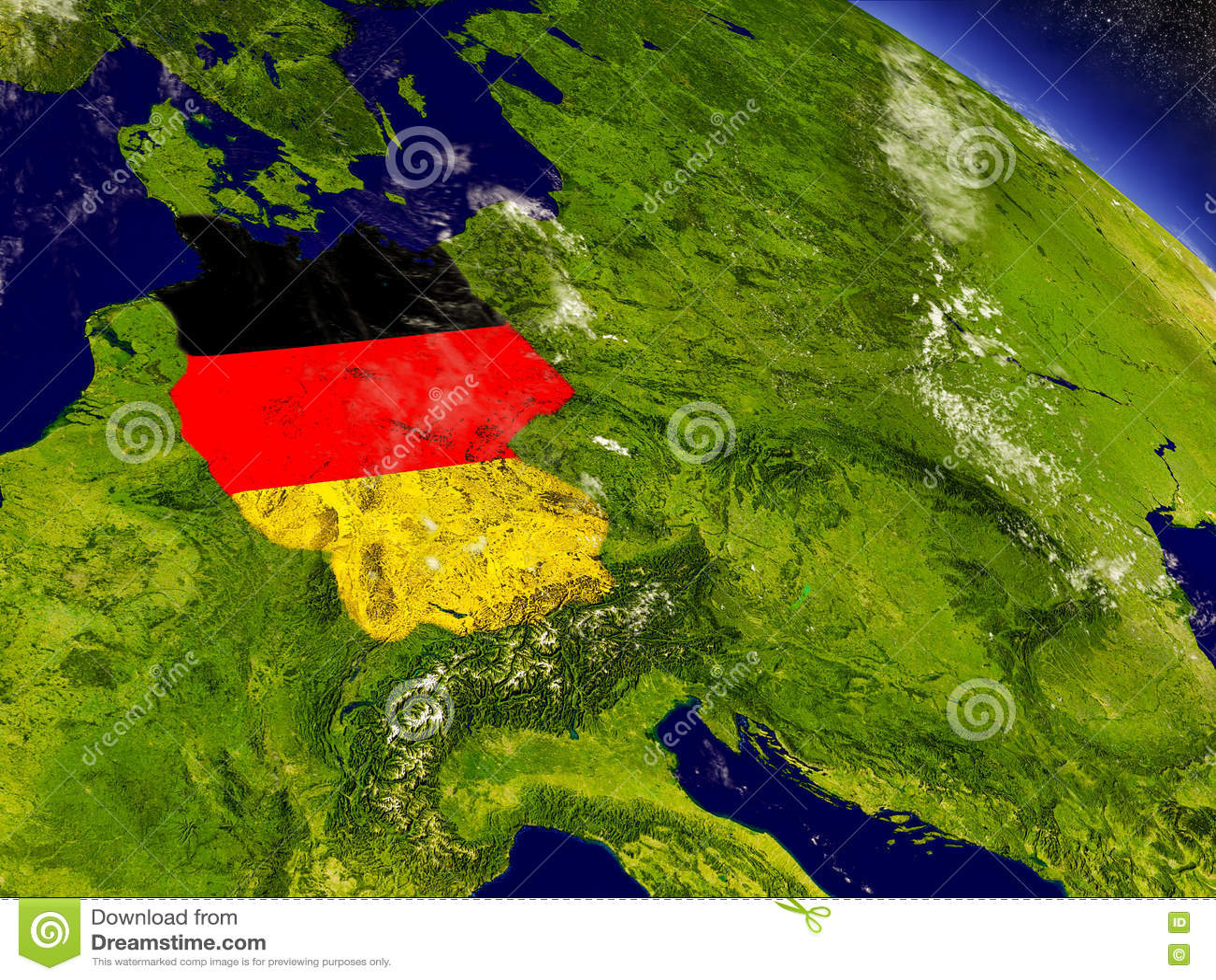 Германия с врезанным флагом на земле