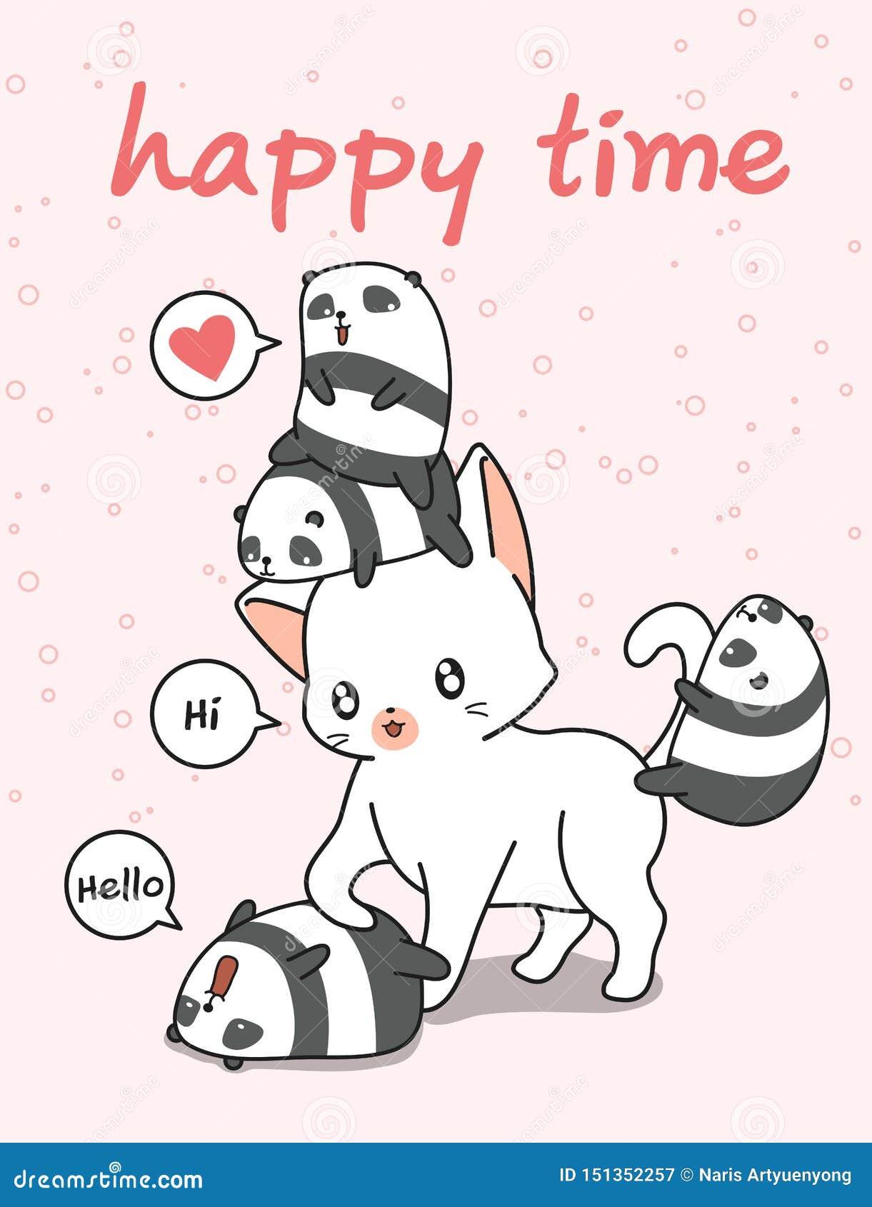 Гигантский кот и небольшие панды
