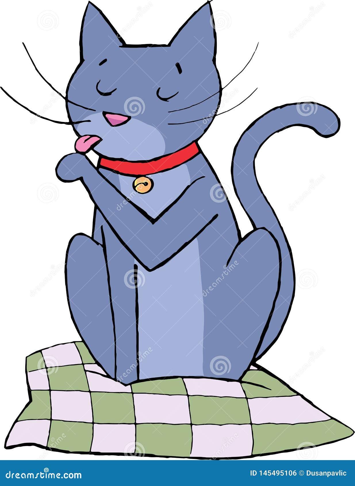 Гигиена кота сидит на подушке