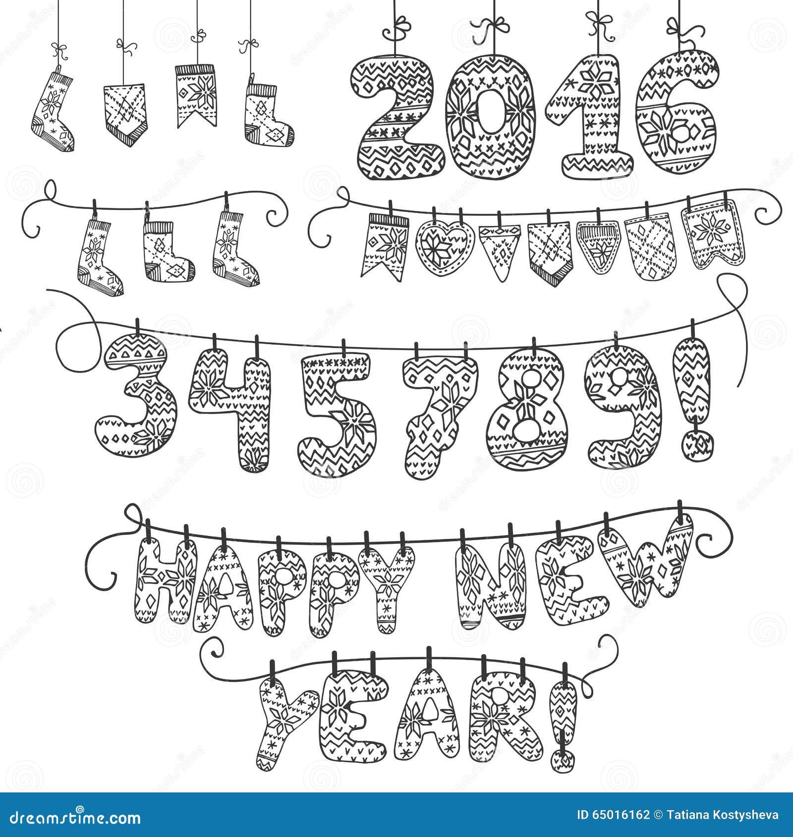 Гирлянда Новый Год Связанные номера, носки, письма 2016 линейно