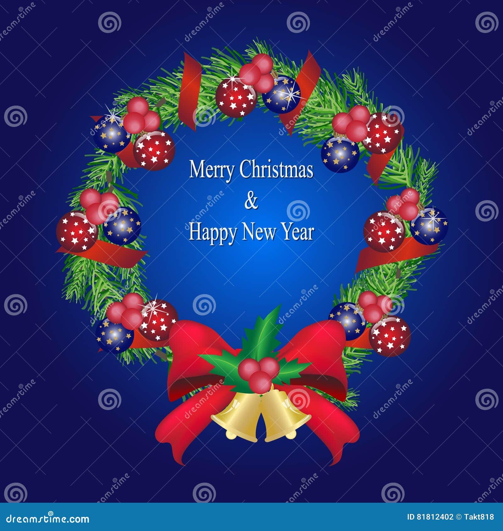 Гирлянда сосны рождества с шариками и красным украшением смычка, сосной w
