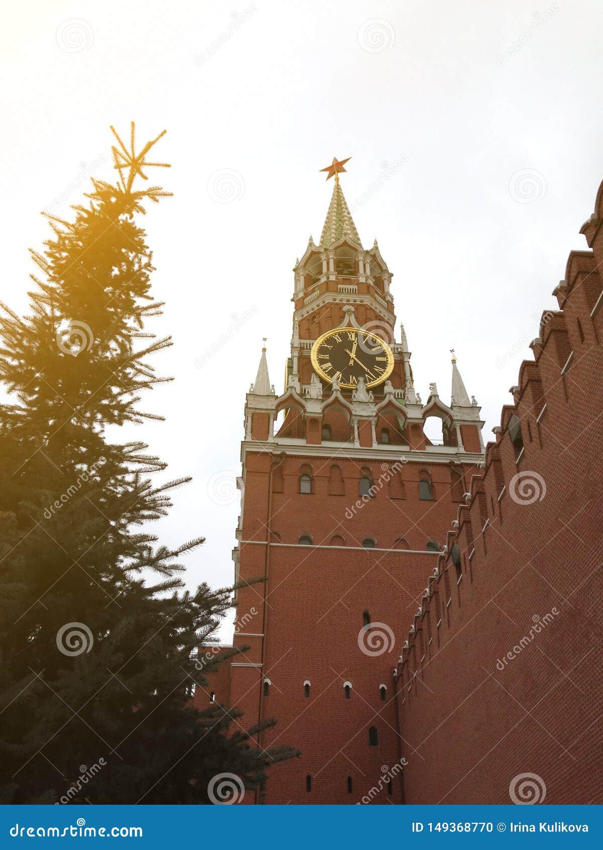 Главная башня Москвы Кремля с огромными час-перезвонами и стеной красного кирпича около высокой ели