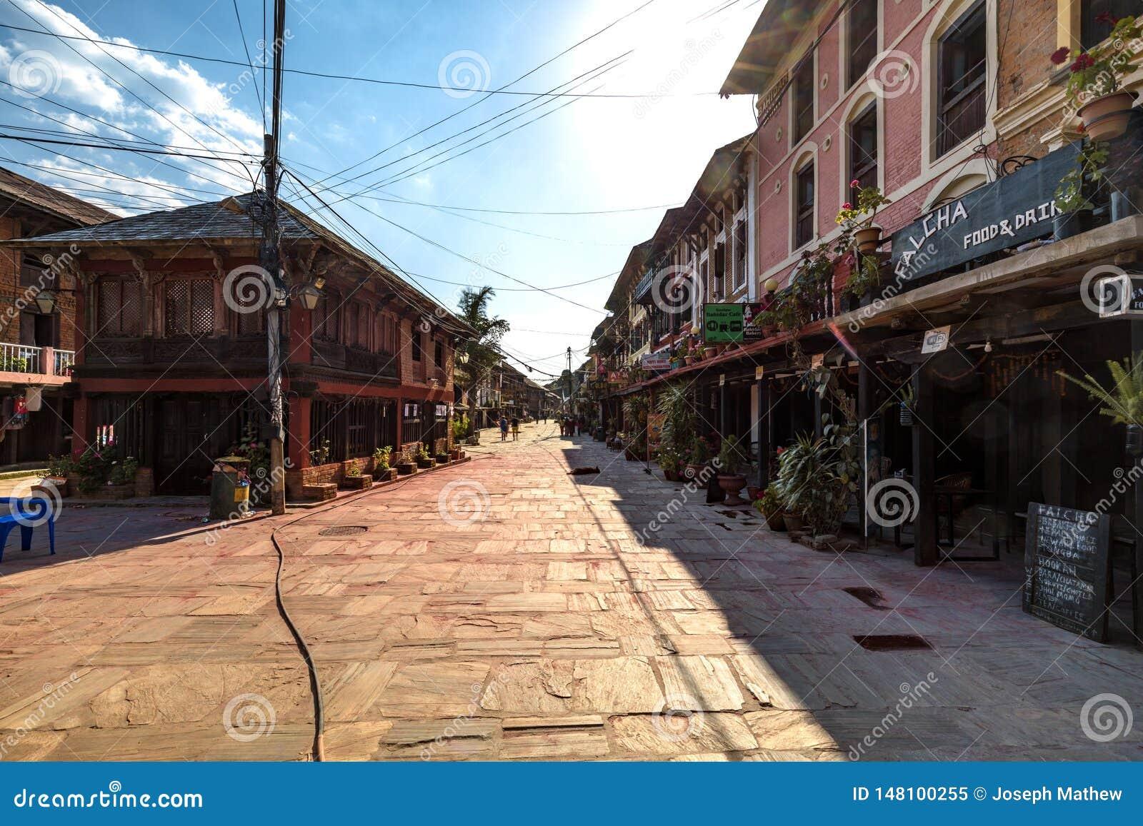 Главная улица деревни Непала Bandipur
