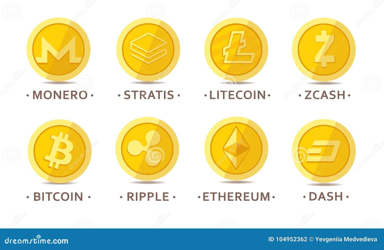 Главные установленные монетки cryptocurrency
