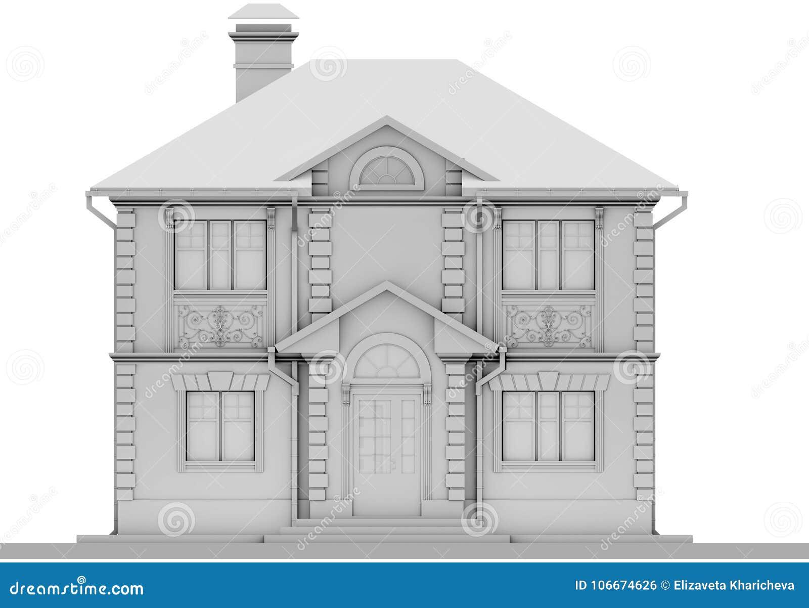 Главный фасад белого коттеджа симметрия перевод 3d