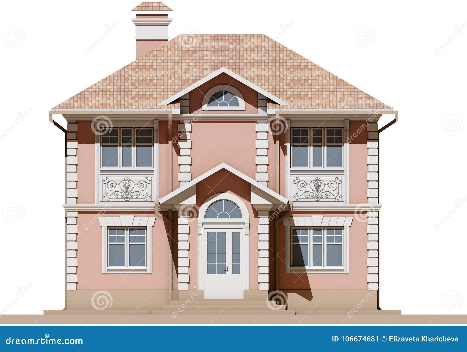 Главный фасад жилого, розового и симметричного дома 3d представляют