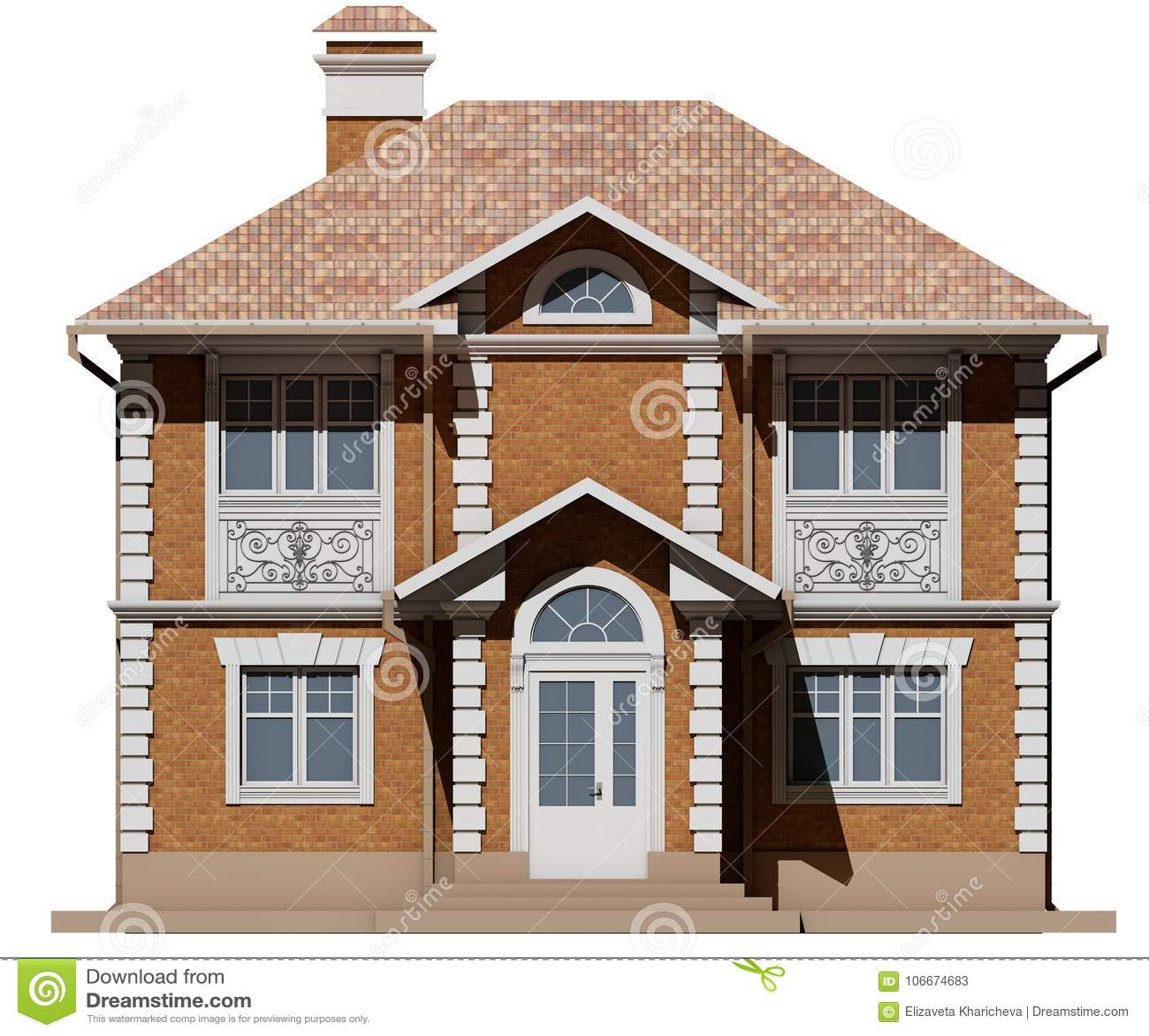 Главный фасад коттеджа кирпича симметрия перевод 3d