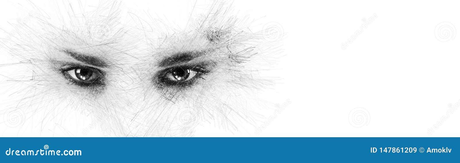 Глаза женщины силуэта стороны эскиза карандаша смотря камеру в сторону на белом космосе экземпляра предпосылки для вашего схемати