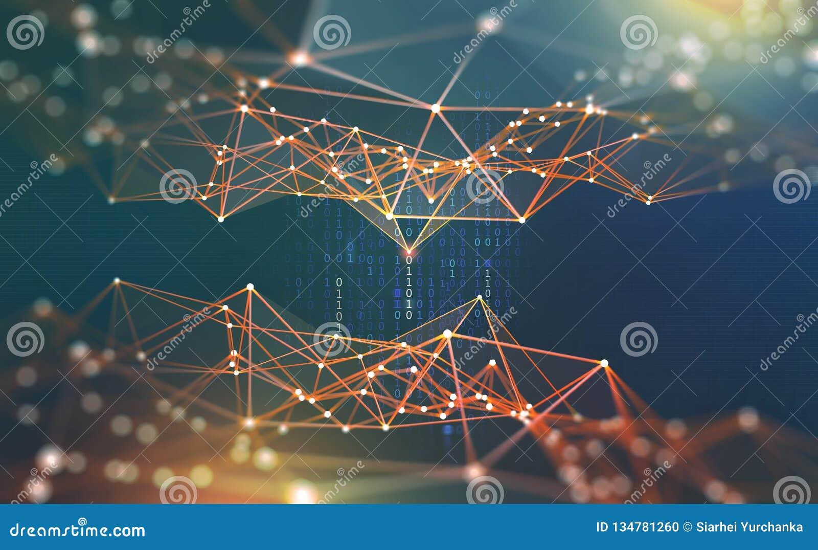 глобальная вычислительная сеть Иллюстрация Blockchain 3D Нервные системы и искусственный интеллект Концепция виртуального простра