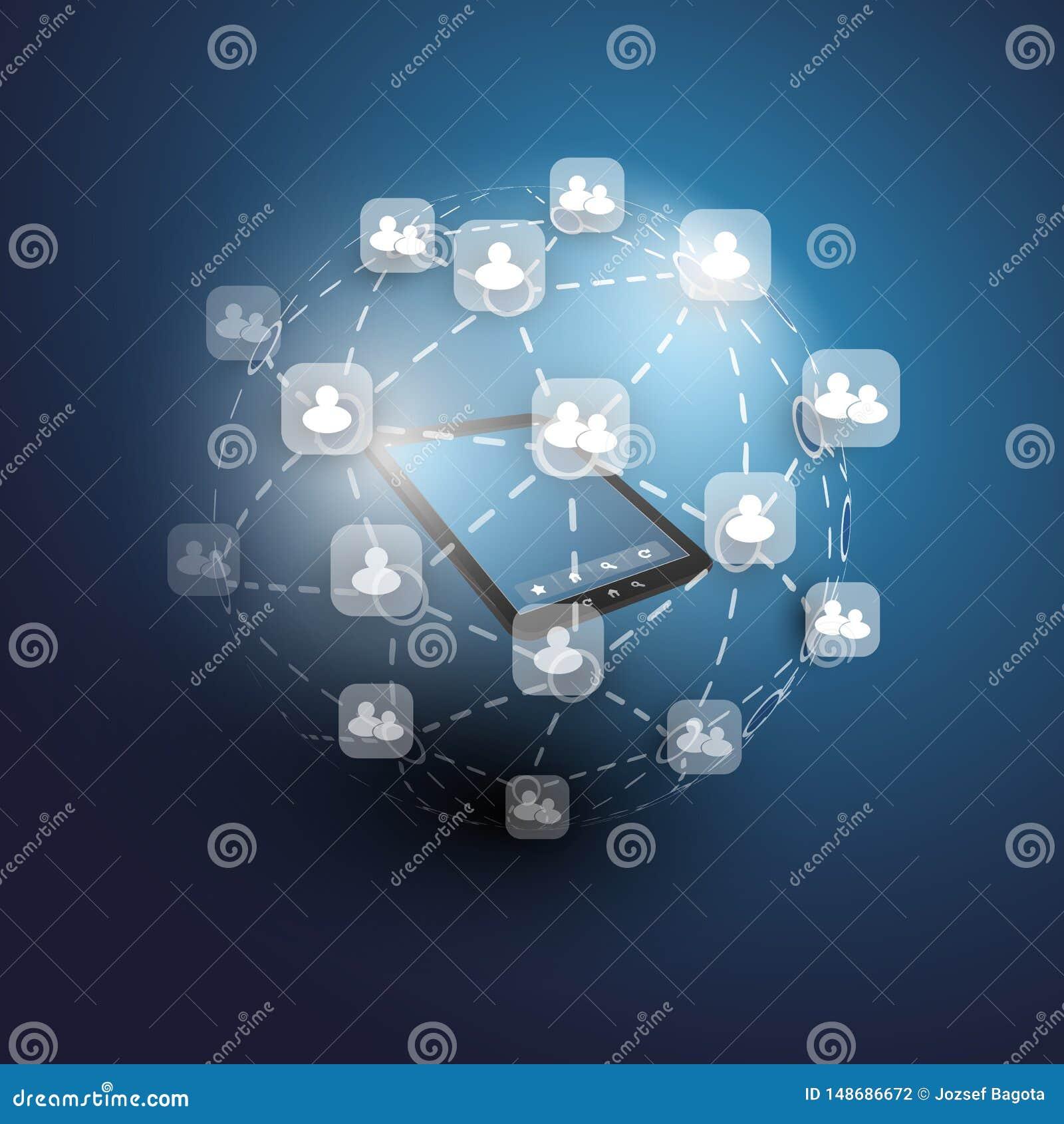 Глобальные или социальные сети - дизайн вектора EPS10 для вашего дела