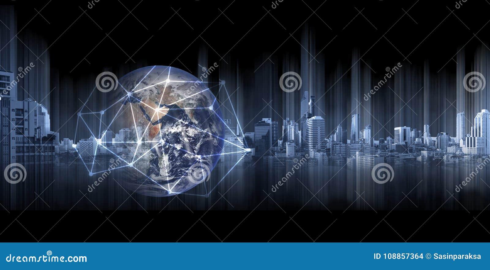Глобальный бизнес и сеть, глобус двойной экспозиции с линиями сетевого подключения и современные здания, на черной предпосылке El