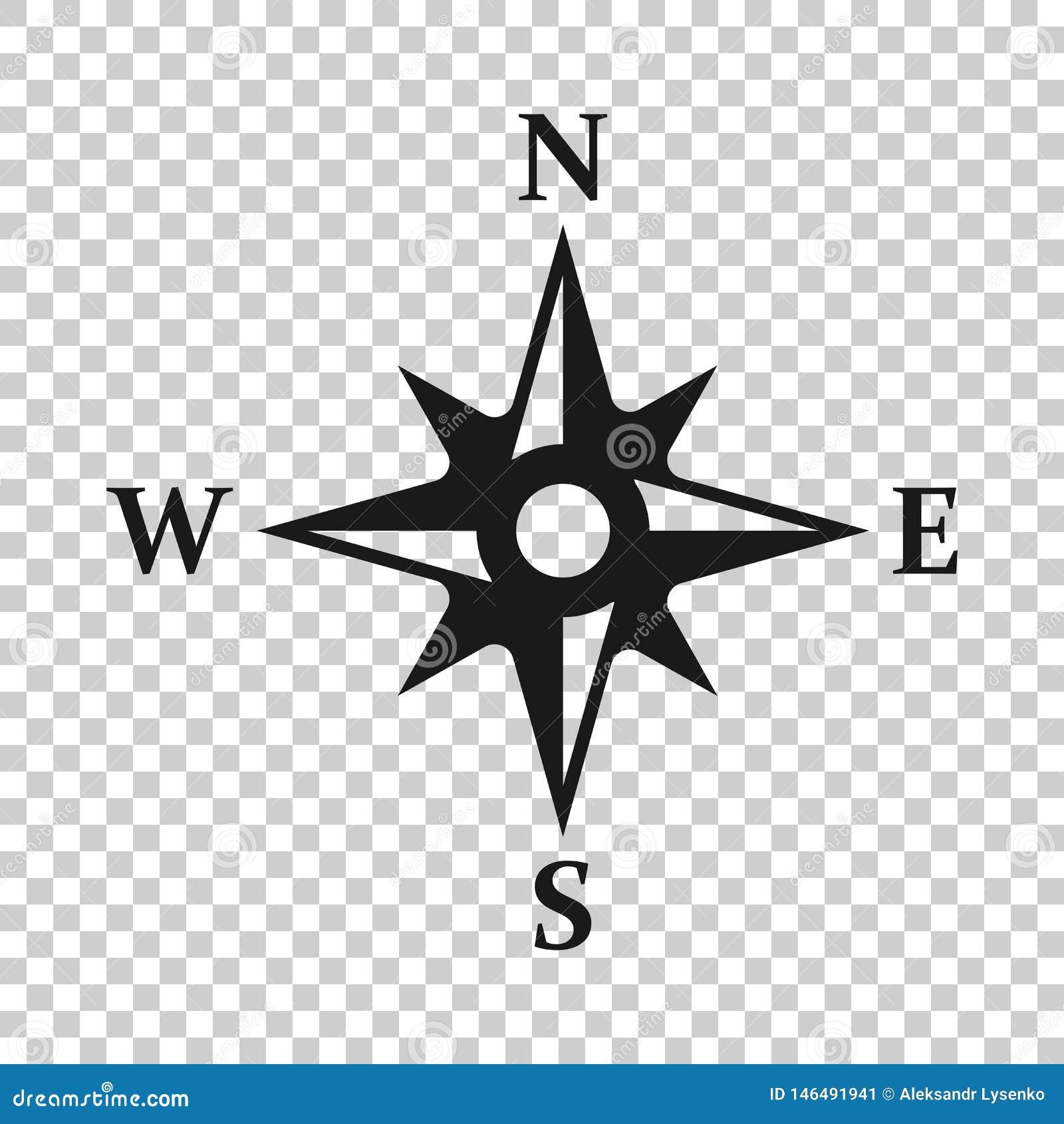 Глобальный значок навигации в прозрачном стиле Иллюстрация вектора gps компаса на изолированной предпосылке Дело открытия положен