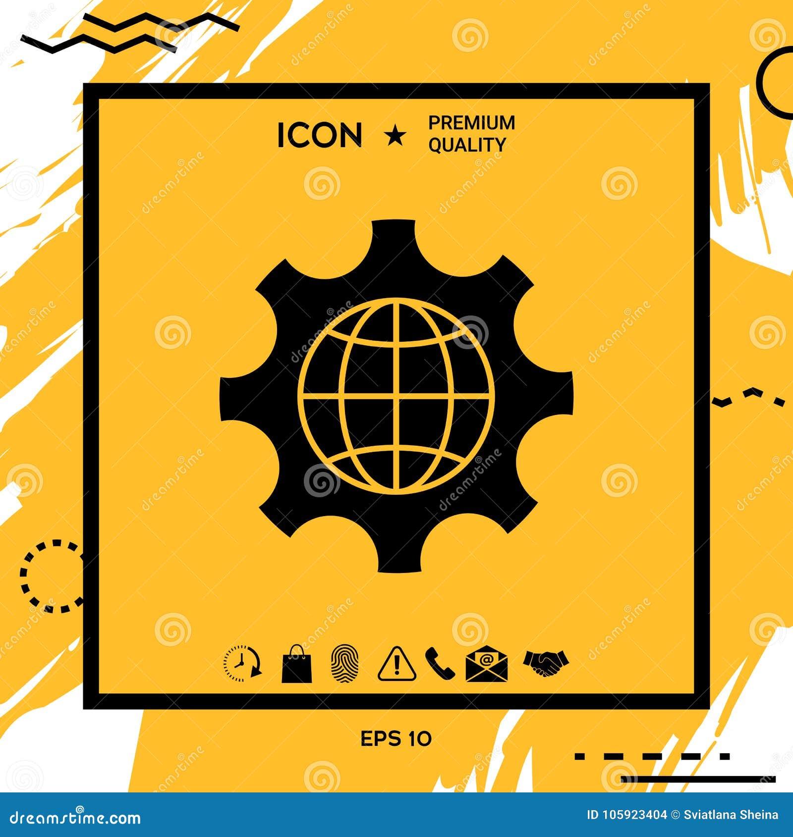 Глобус земли внутри шестерни или cog, устанавливая параметры, глобальный значок вариантов