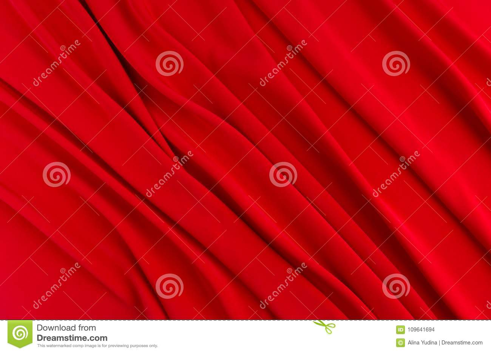 Глубоко - красная silk ровная предпосылка с космосом экземпляра Абстрактный фон влюбленности страсти