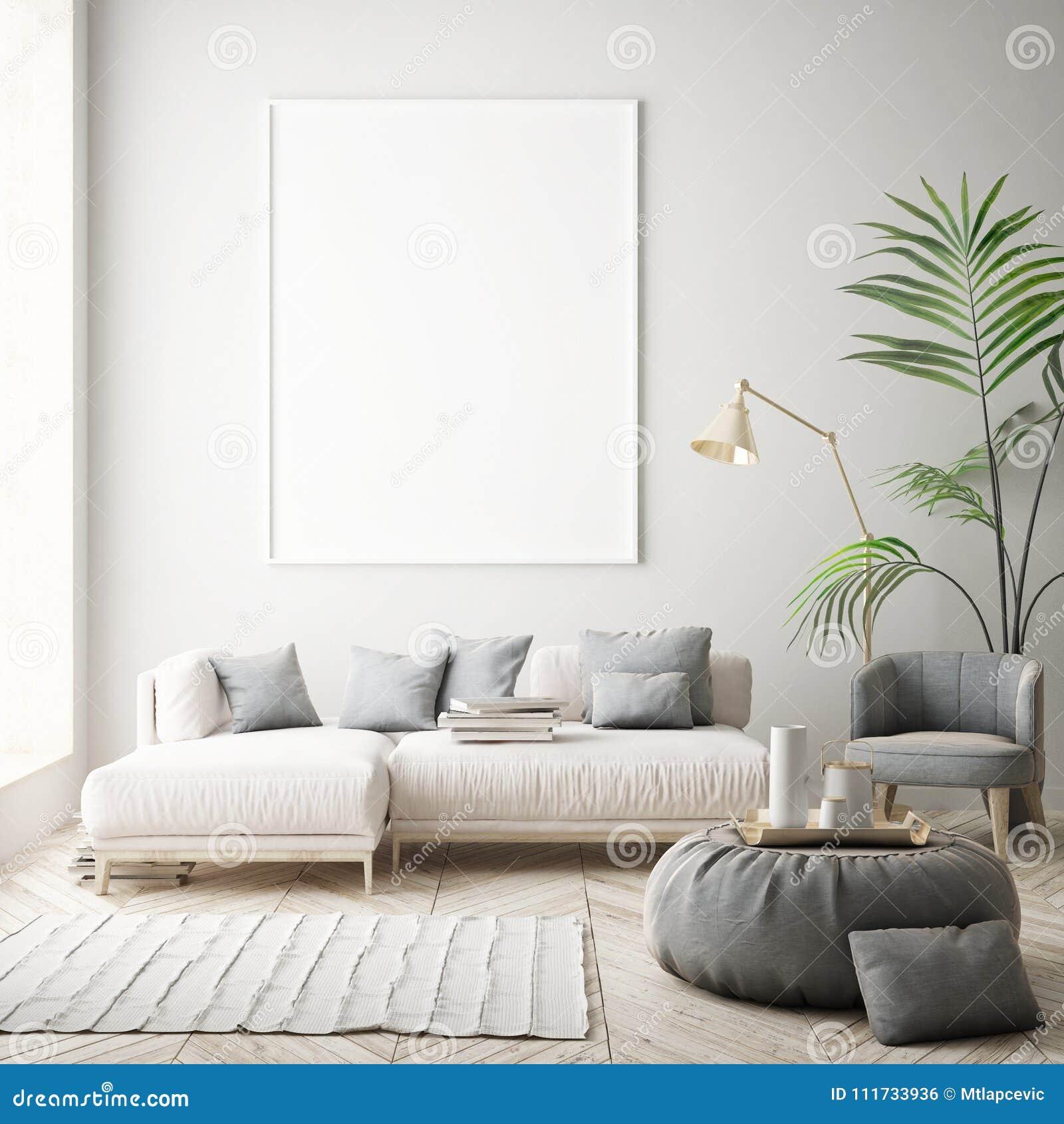 Глумитесь вверх по рамкам плаката в спальне детей, предпосылке скандинавского стиля внутренней, 3D представьте