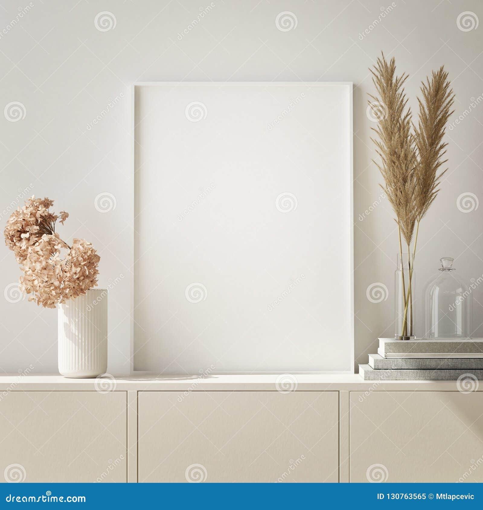 глумитесь вверх по рамке плаката в предпосылке битника внутренней, живущей комнате, скандинавском стиле, 3D представьте, иллюстра